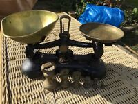 Kitchen scales . Brass with all old weights