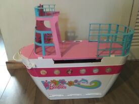 Barbie boat and car.