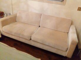 Cream chenille sofa 3 seater washable covers