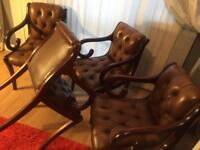 Chesterfield Vintage dining chairs X4