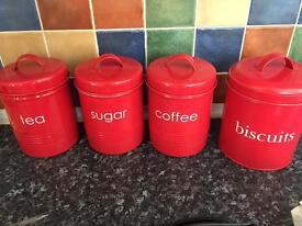 Red kitchen jars