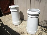 white chimney pots, good and clean. x 2