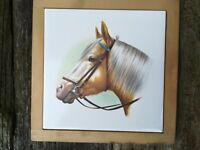 Framed Horse Head Ceramic Tile