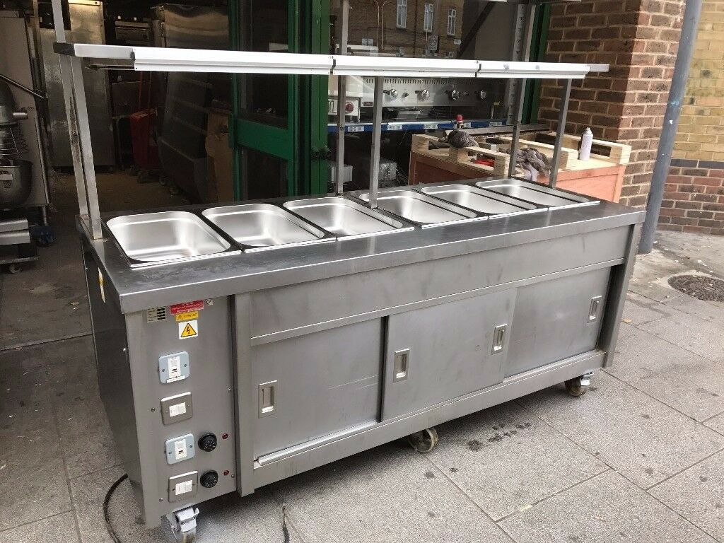CATERING COMMERCIAL HOT FOOD SERVER BAIN MARIE WET CAFE KEBAB CHICKEN BBQ RESTAURANT KITCHEN BAR