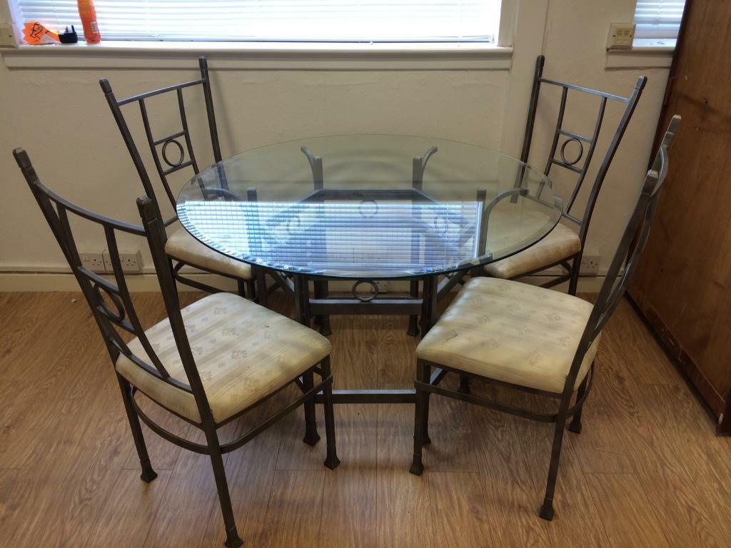 Metal & glass table & 4 chairs
