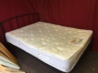 BLACK METAL DOUBLE WITH MATTRESS,CAN DELIVER