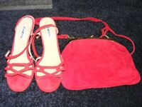 New Next Genuine Suede Shoes & Matching Bag Size 4 & A Half, Last Photo Shows Correct Shade Of Red