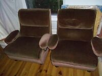Lounge armchair X2 Chocolate Brown velvet upholstery. Can deliver
