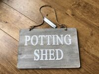 New - Garden Trading Wood 'Potting Shed' Sign