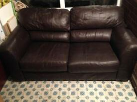 Brown leather sofa couch chair seat
