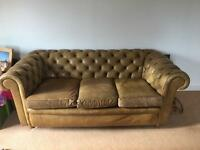 Vintage leather chesterfield sofa & armchair