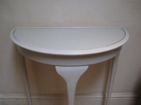 Vintage Half-moon Console / Hall Table, Glass Topped - Painted in Farrow & Ball Eggshell