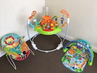 Jumperoo, gym and vibrating chair.