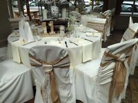 Wedding Business Stock - USED - chair covers/tablecloths/flowers/vases