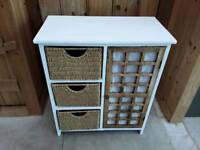 WOOD UNIT WITH BASKETS AND SHELF BATHROOM KITCHEN BEDROOM CHEST STORAGE UNIT