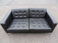 IKEA KARLSFORS/LANDSKRONA TWO SEATER BLACK LEATHER SOFA (I CAN DELIVER TODAY).