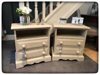 Pair of Annie Sloan Hand Painted Shabby Chic Solid Pine Bedside Cabinets