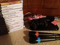 PS2 Sony Playstation 2 Console , Microphones, Controllers, Memory Card - with large bundle of games
