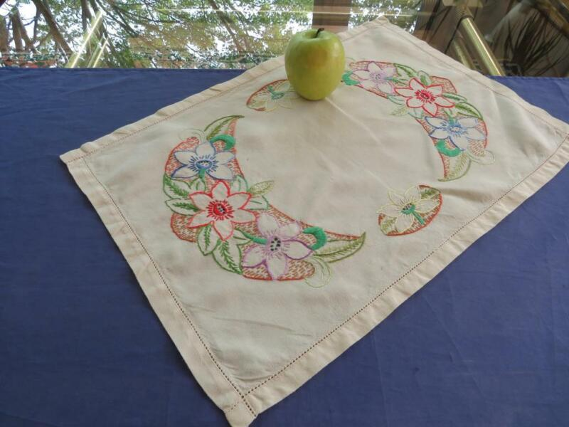 Antique Arts & Crafts Hand Embroidered Cotton Table Centerpiece Tray Cloth 13x19