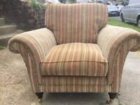 Parker Knoll snug chair/ sofa chair/ arm chair, striped in green, burgundy, blue and cream colours.