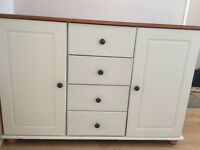 """pine/cream unit...sideboard/ solid unit in """"Winter White"""" chalk paint"""