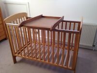 Oak cot and changer
