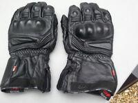 Black Leather Waterproof Padded Motorbike Gloves