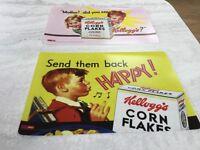2 VINTAGE STYLE KELLOGS CORN FLAKES PLACE MATS, KITCHEN TABLE BREAKFAST BAR, 1950s RETRO