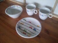 Cars multi color children kids dining set plate bowl 2 cups in very good condition