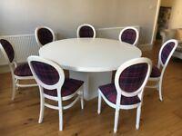 round dinning table + 8 chairs pink nNss tartain