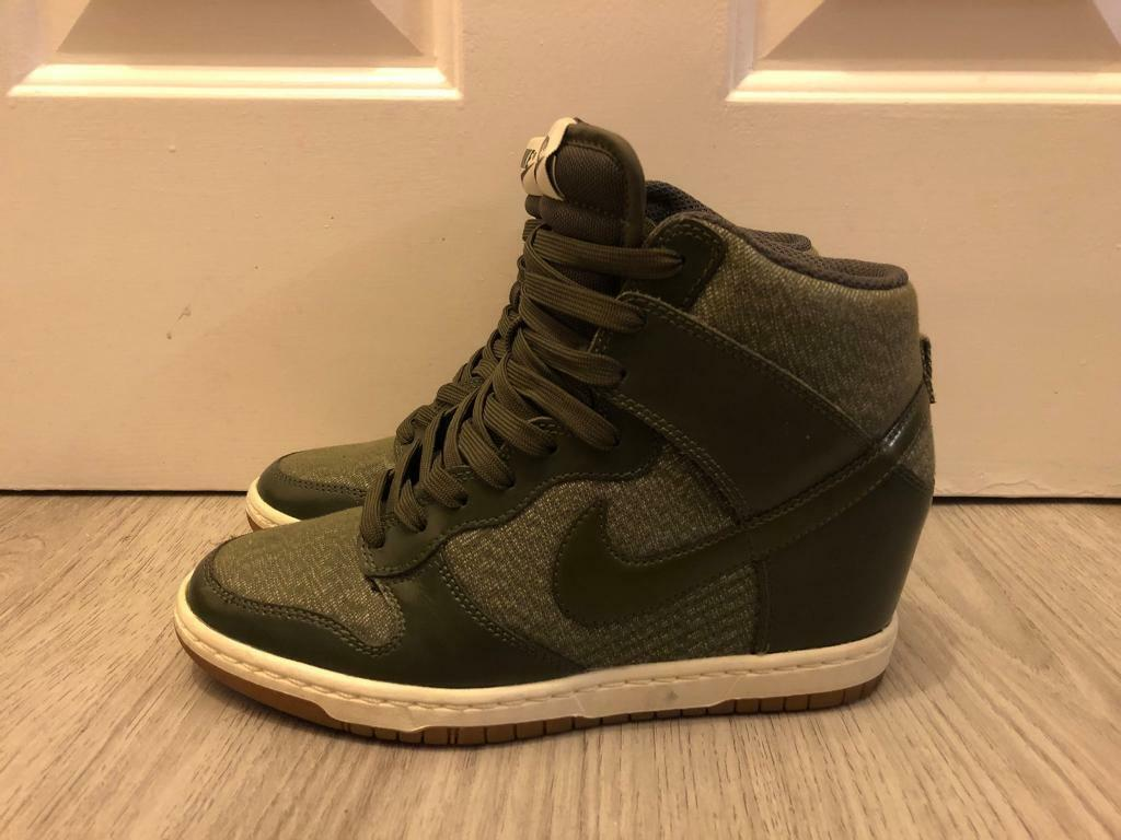 Women s Authentic Nike Dunk Sky Hi Wedge Trainers Size 4  9f1b546bc9be