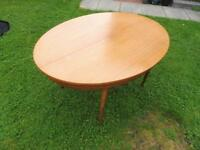 Retro Teak oval extending dining table and 4 chairs