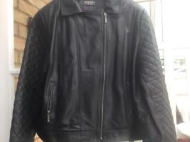 Minuet Petite Black Leather Jacket - Size 18
