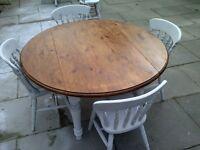 round SHABBY CHIC FARMHOUSE TABLE drop leaf four chairs heavy app 140cm