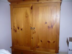 Solid Pine Wardrobe, Chest of Drawers and Wooden Storage Box