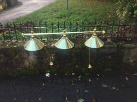 Brass pool table lights