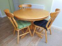 "Round Pine Table (39"" diameter) and Three Matching Chairs + optional seat pads"