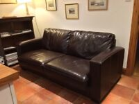 Leather double sofa bed from Furniture Village, little used and very comfortable
