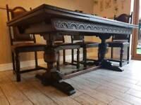Jaycee Tudor Dining Extendable Hand Carved Oak Table