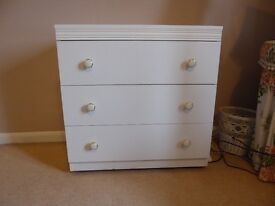 3 drawer chest of drawers, white chest