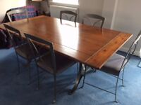 Ducal Winchester Pine Dining Table and 6 Chairs with Forged Iron Legs