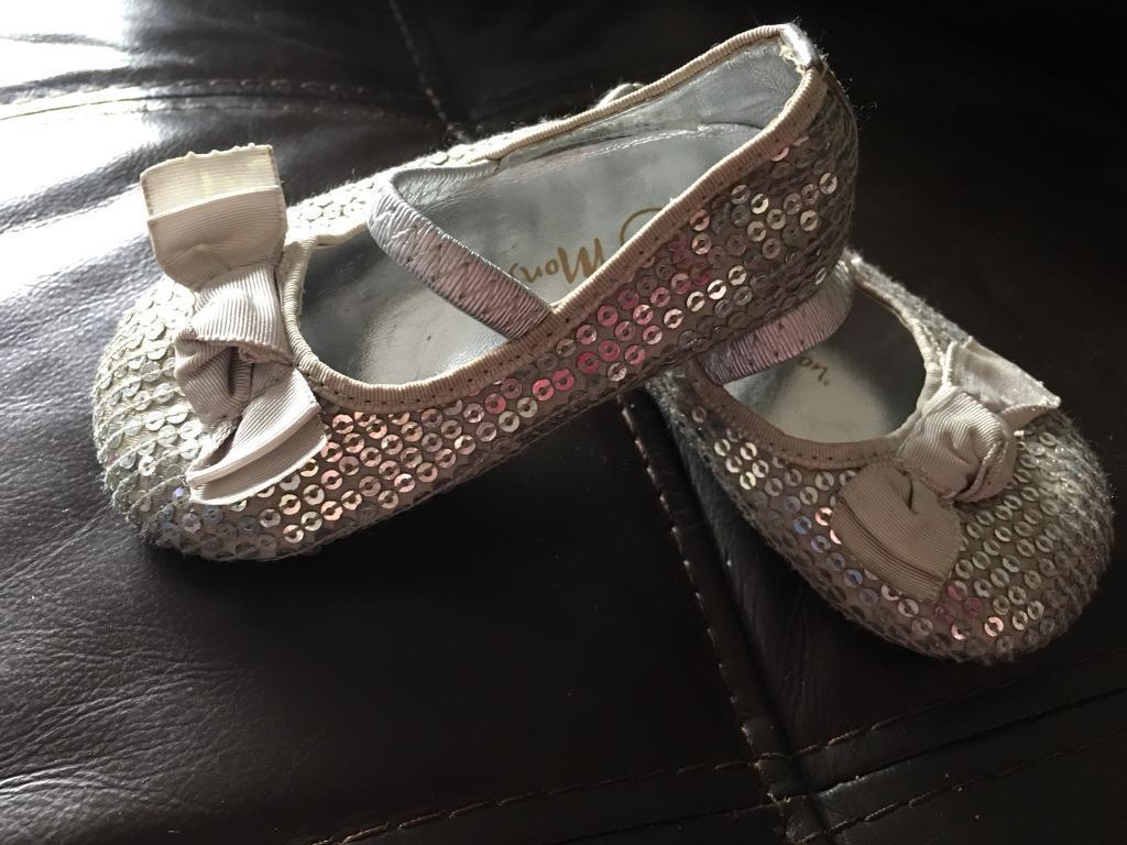 Monsoon silver Sequin party shoes / pumps infant Girls sz3