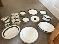 M&S green/white bone china dinner set