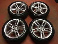 18'' GENUINE AUDI A5 S LINE 5 DOUBLE SPOKE ALLOY WHEELS TYRES ALLOYS PASSAT JETTA 5x112 A4 B8