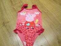 GIRLS PEPPA PIG SWIMSUIT / NEXT PINK HOODIE - AGE 2-3 YEARS - GC
