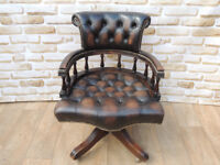Traditional captains antique brown chair (Delivery)