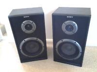 Pair of Sony speakers, 60W each, black