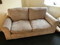 SMALL THREE AND TWO SEATER SOFA GREY / BROWN £75 CAN DELIVER