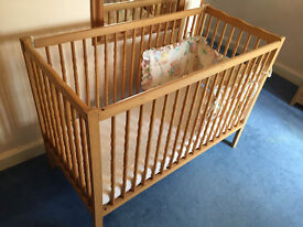 Wooden Cot bed + Mai Bambino Mattress