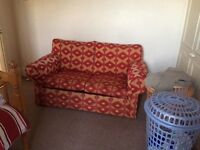 Clean sofa bed settee double seat funky print